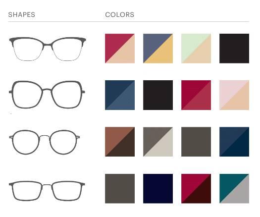 Modo occhiali forme e colori
